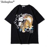 Baishanglinna Chinese Character Tiger Printed T Shirts Mens 2019 Hip Hop Casual Cotton Short Sleeve Tops Tees Streetwear