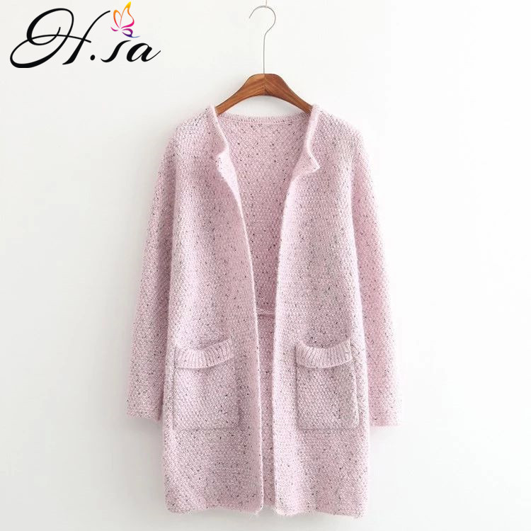 H.SA 2019 New Women Long Sping Sweater Jacket Pink Blue Candy Color Knit Poncho Long Sleeve Oneck Women Jumpers Knit Cardiagns