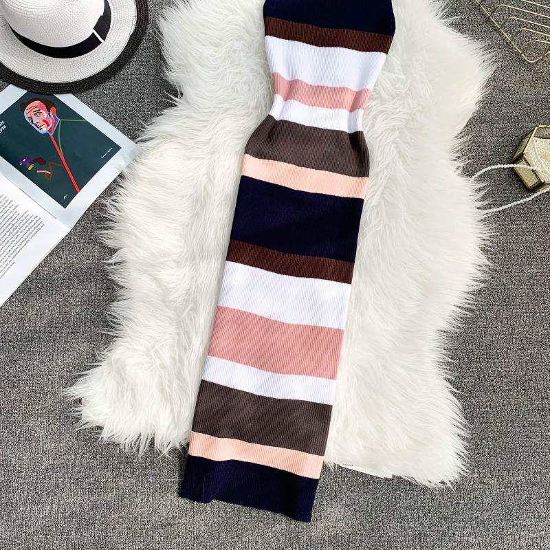 ALPHALMODA Horizontal Striped Hit Color Ladies Casual Summer Knit Tank Dress Pullovers Stretchy Slim Ladies Mid-calf Vestidos 14