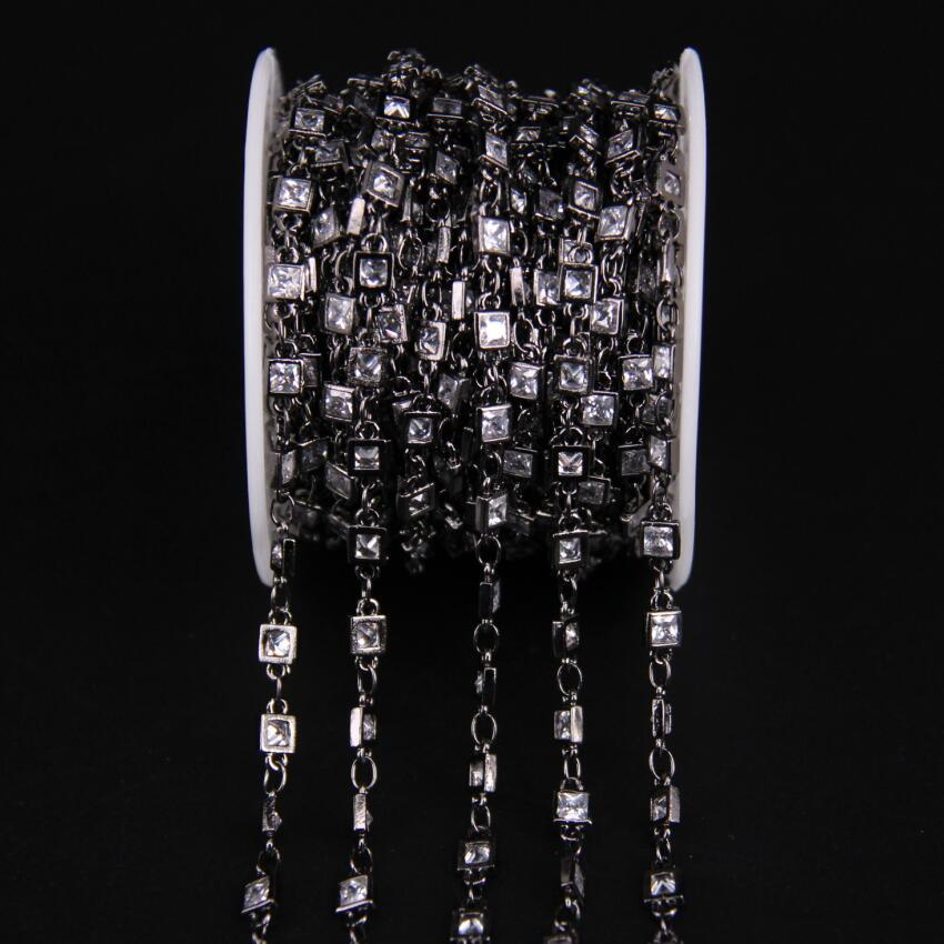 3mm, facetté carré Zircon lien métal chaîne noire, blanc cubique Zircon cristal lunette connecteur chapelet chaîne, CZ pistolet noir boucles d'oreilles - 4