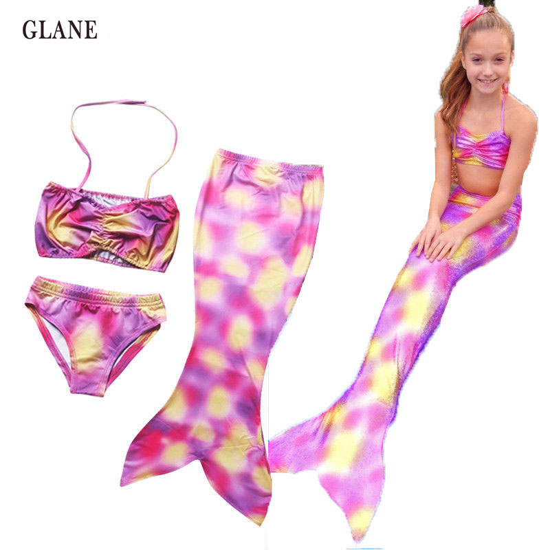 5-9T Kids Girls Mermaid Tail Swimmable Bikini Set Traje de baño - Ropa deportiva y accesorios