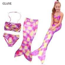5-9T Kids Girls Mermaid Tail Swimmable Bikini Set Swimwear Swimsuit Swimming Clothes Children Clothes Set