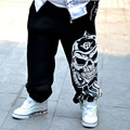 Мужчины брюки хип-хоп весна 2017 новая осень повседневная молодежные брюки мужской череп печати брюки подросток плюс размер черный серый