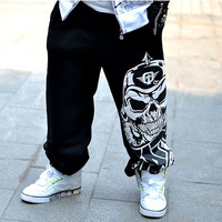 Men pants hip-hop spring 2018 new autumn casual youth pants male skull print trousers teenager plus size black gray
