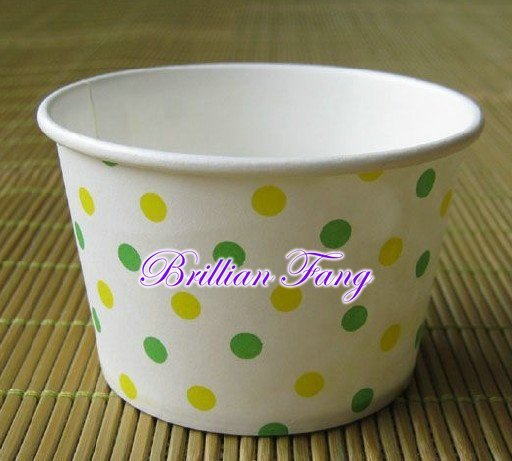 Free shipping 1200pcs yellow + pink or green + yellow Round polka dot paper cupcake case ice cream cups & containers no cover