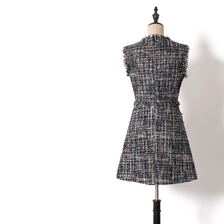 ligne Mode Courte Femmes Plaid Manches Petites Automne Gilet cou A Poches Nouveau Sans Printemps V Robe Robes 2019 Tweed WCxQedErBo