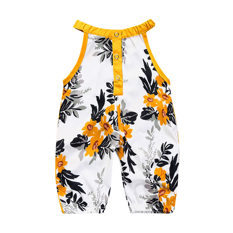 Floral Print Newborn Baby Girl   Romper   Cotton Sleeveless Baby Girl Clothes Sling Elastic Infant Onesies Summer Toddler Costume