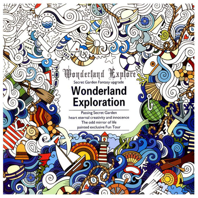 Children's Stationery 24 Page Wonderland Explore Painting Books Adult Decompression Hand-painted Doodle Book Office Supplies 1pc