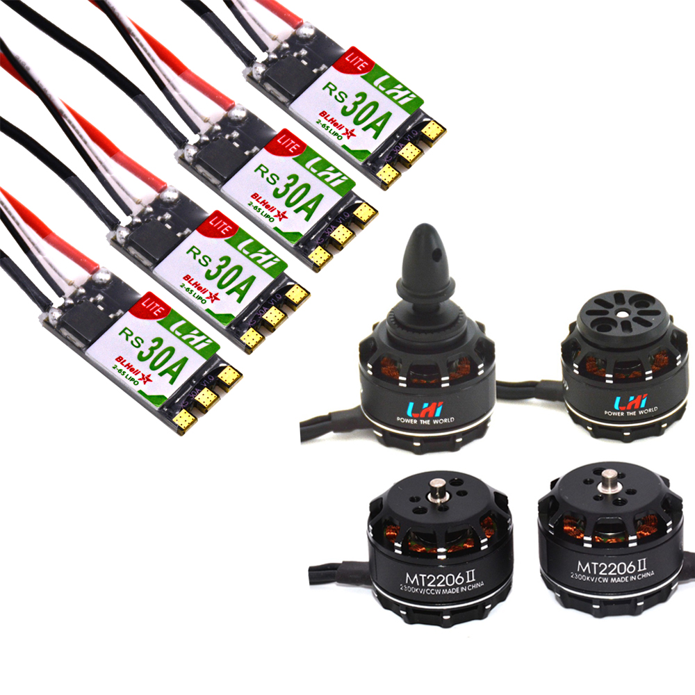 LHI FPV 4x MT2206 2300kv CW CCW FPV Brushless Motor (2-4S)+4 PCS RS 30A 2-6s Lipo BLheli_S ESC Support Oneshot125 Multishot 4x 2300kv rs2205 racing edition motor 4x lhi lite 20a blheli s speed controller bb1 2 4s brushless esc for fpv racer