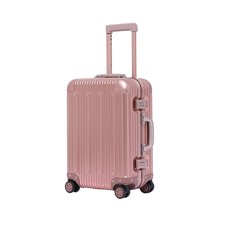 Rose Gold 20 Inch Travelking Aluminum Luggage Carry On Spinner Hard Shell  travel  Suitcase Lightweight Metal Suitcases (20 In)Rose Gold 20 Inch Travelking Aluminum Luggage Carry On Spinner Hard Shell  travel  Suitcase Lightweight Metal Suitcases (20 In)