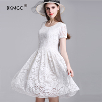 New Sexy Off The Shoulder Dress White Black Lace Flower Casual Women Dresses Vintage Office Elegant Timeless Party Dress