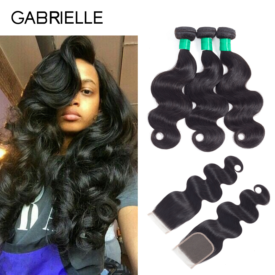 Gabrielle Brazilian Body Wave 3 Bundles with Closure Free/Middle/Three Part Natural Black Human Hair Weave with 4x4 Lace Closure