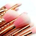 8 unids rosa de oro completa precisión ojo cepillo de sombra de ojos blending lápiz pincel de maquillaje Fundación Polvos pinceles de maquillaje set