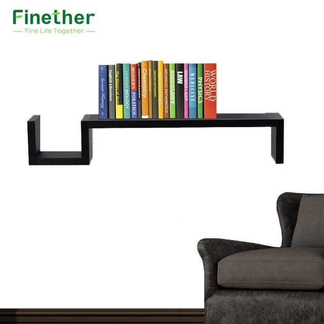 Finether S Shaped Floating Wall Mounted Shelf Bookshelf Display Rack Storage Ledge Creative