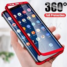 NAGFAK 360 Tam Kapak Telefon samsung kılıfı Galaxy S9 S8 Artı S7 S6 Kenar Not 9 8 S8 PC Koruyucu Kapak s8 S9 Kılıf Ile Cam