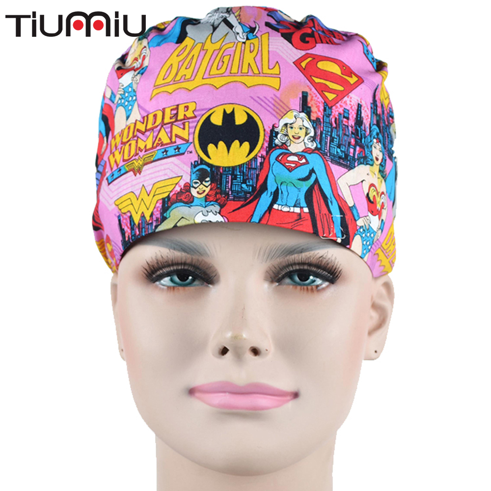 Doctor Breathable Scrubs Hero Marvel Women Cosmetic Military Style Hospital Medical Caps Surgical Hat Nurse Unisex Men Dentist
