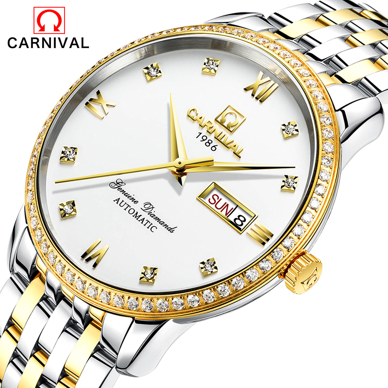 цены 2017 New CARNIVAL Automatic Mens Watches Business Classic Mechanical AUTO Date Day Stainless Steel Band Skeleton Wristwatch