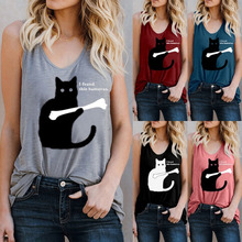 t shirt Womens spring and summer print vest T-shirt Amazon cross-border large size womens  clothing