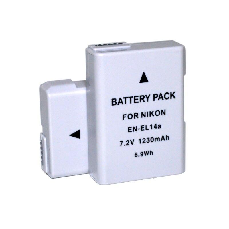 2 pièces enel14 EN-EL14a Li-ion Batterie Pour Nikon Df D3100 D3200 D3300 D3400 D5100 D5200 D5300 D5400 D5500 D5600 Appareil Photo REFLEX