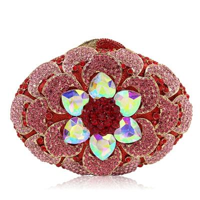 Casual Ladies Designer Crystal Diamond Women Messenger Bags Famous Brand Luxury Handbags female graduate prom evening bags red