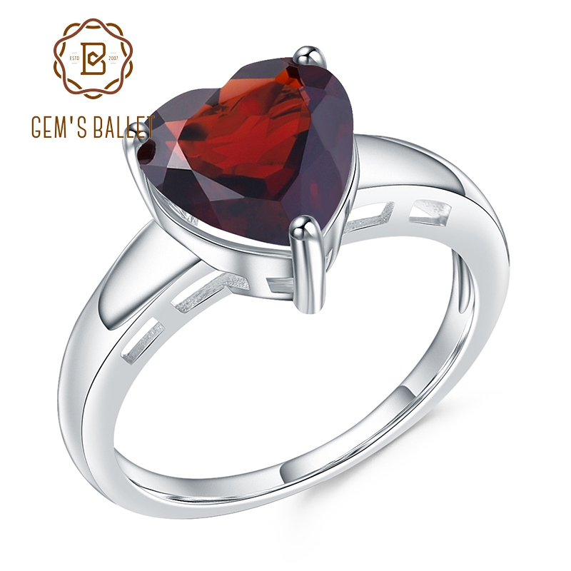 GEM'S BALLET 925 Sterling Silver Heart Shape Ring 2.78Ct Natural Garnet Gemstone Wedding Rings For Women Fine Jewelry
