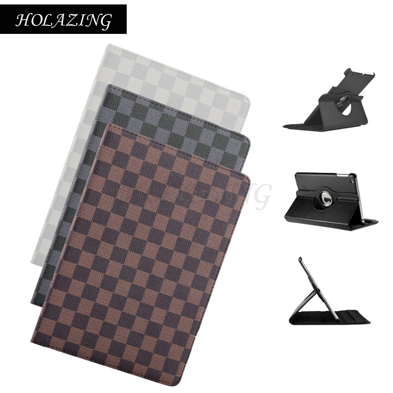 HOLAZING Plaid Auto Sleep Wake up Multi Angle Stand Smart Cover for iPad Air 2 9.7 360 Rotation Premium PU Leather Case
