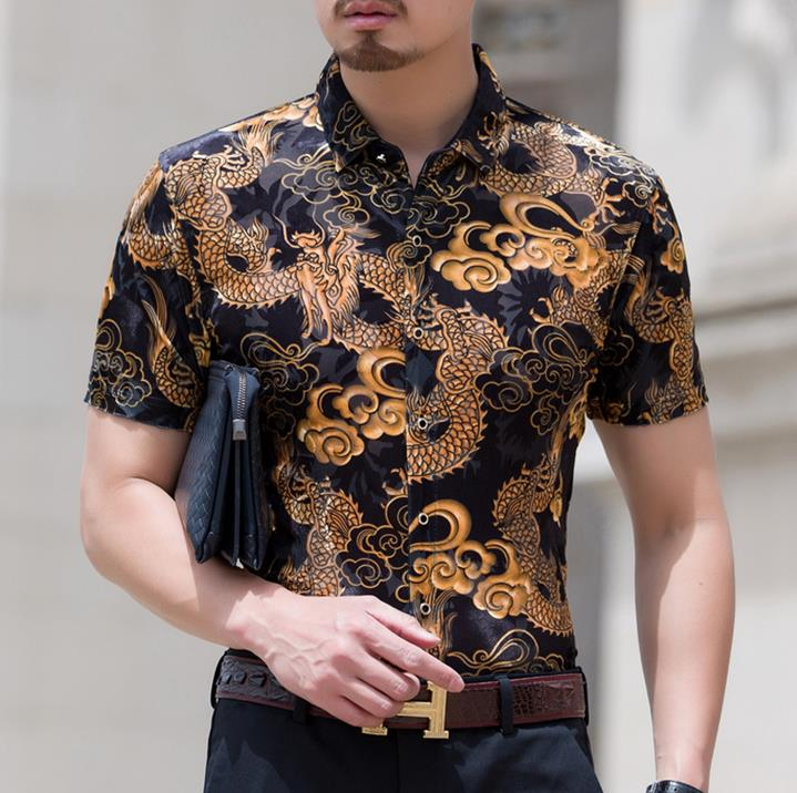 Mens dragon print design silk shirts men casual short for Silk short sleeve shirt