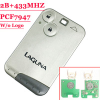 Free Shipping 2 Button 433MHZ Pcf7947 Chip Remote Key Card For Renault Laguna With Grey Blade