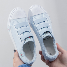 Sneakers for girls Canvas shoes Breathable solid Hook Loop Flat with Wo