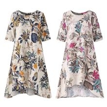 Women Plus Size Cotton Linen Short Sleeve Loose Dresses Casual Floral Painting O-Neck Irregularity Dress S-5XL