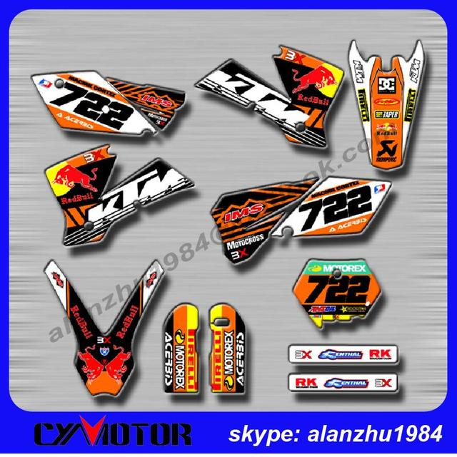 MOTORCYCLE BULL 3M 722 GRAPHICS  BACKGROUND DECALS STICKERS KITS FOR KTM EXC 2004  DIRT BIKE