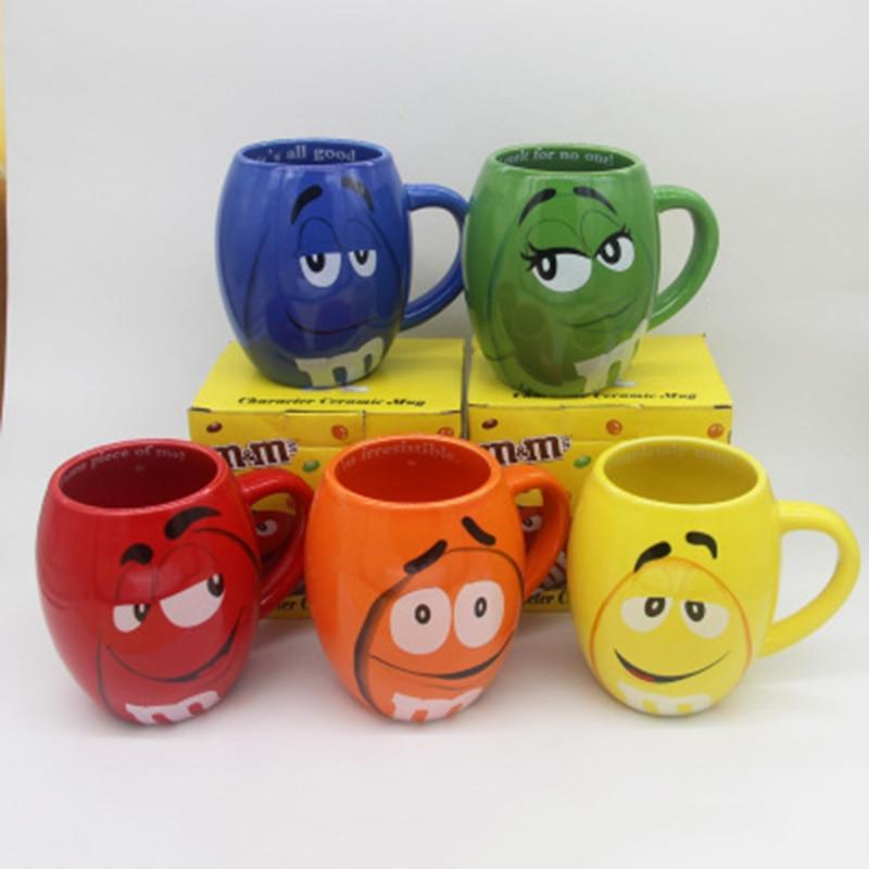 2019 neue 600 mL m & m Bohnen Kaffee Tassen Tee Tassen und becher Cartoon Niedlichen Ausdruck Mark Große Kapazität drink Weihnachten Geschenke