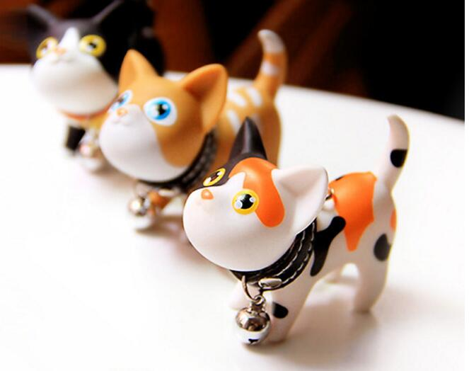 50PCS Multicolor Cute Cute Cat Keychain Animal Dolls Key Chain Baubles Pendant Shake Head Bell for kids Creative Jewelry Gift - 2