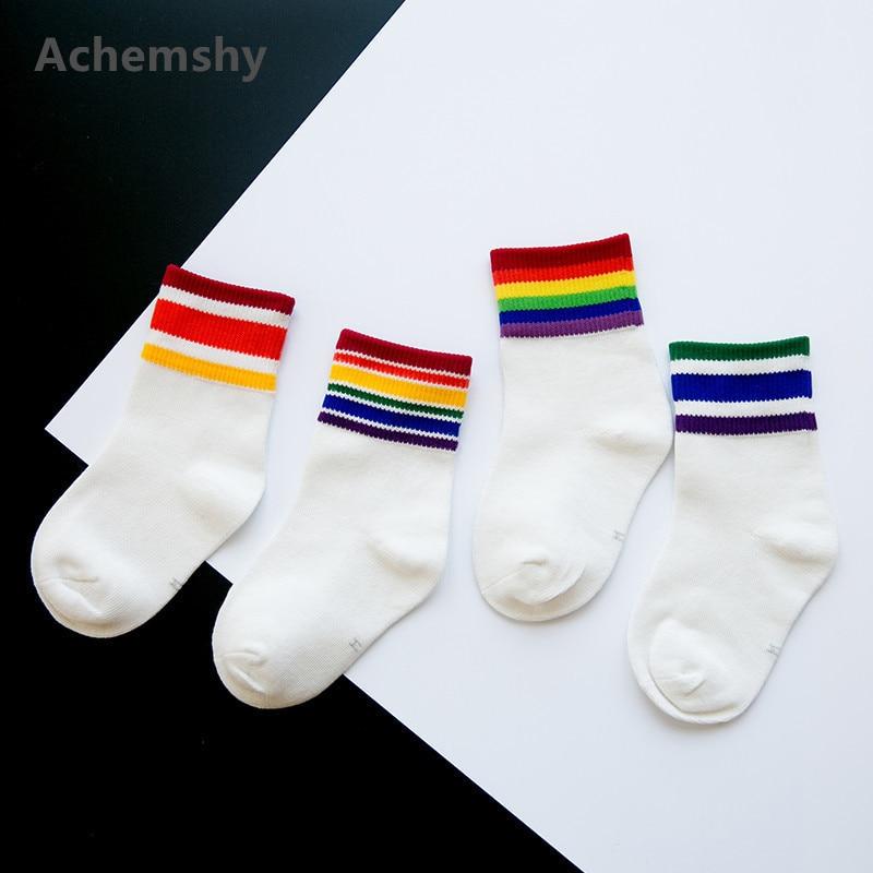 Kids Rainbow Striped Sports Football Skate Short Tube Socks Children Girls Boys Fashion Warm 1-8 T