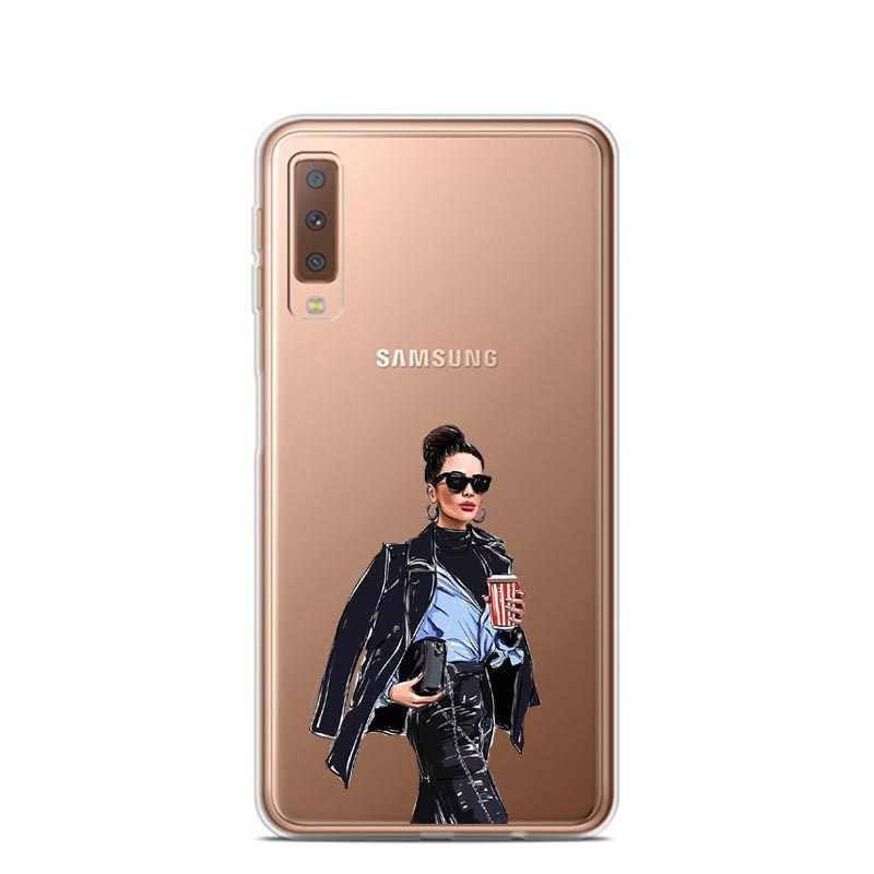 Đối với Samsung A7 2018 Trường Hợp 6.0 inch Mềm TPU Silicon Điện Thoại Trường Hợp Đối Với Samsung Galaxy A7 2018 Trường Hợp A750 A750F cha Bé Mẹ Trường Hợp