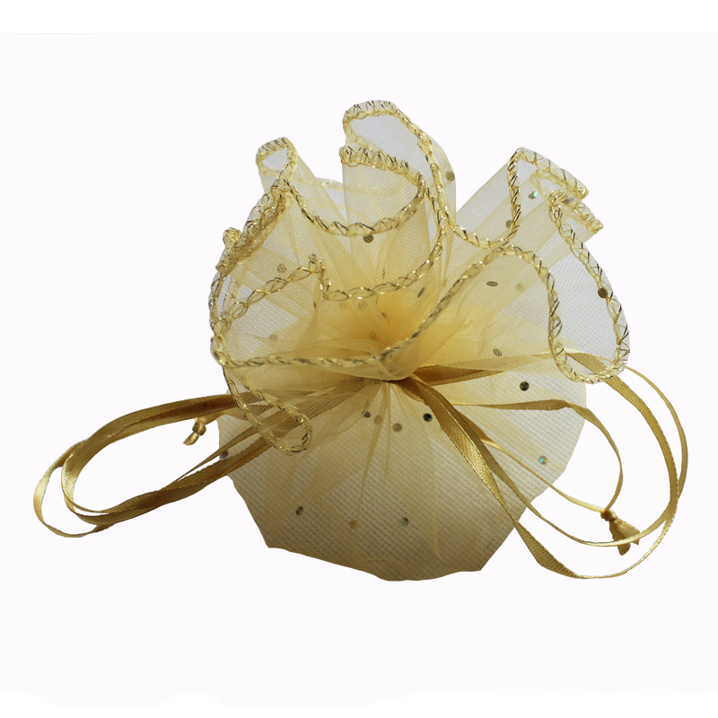 (100pcs/lot)33cm/13inch diameter gold round organza bag gift sweet wedding pouch for sale