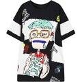 2016 nuevo de las mujeres de manga corta divertido impresión de la historieta tee superior elástica señoras con estilo de la camiseta larga tops para mujer camisetas stretch t shirt