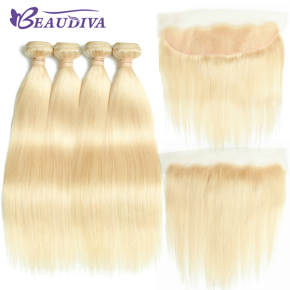 613 Blonde Bundles With Frontal Closure Brazilian Hair Weave 613 Bundles With Lace Frontal Remy Straight Hair Extension Beaudiva