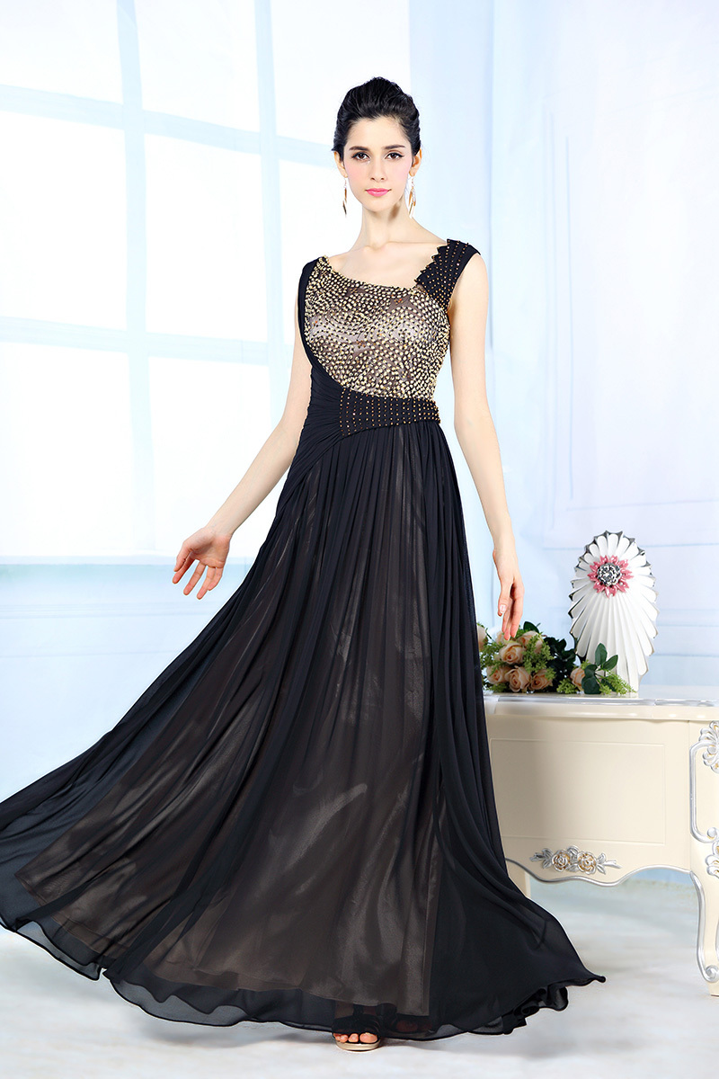 92389e3f9dee Designer Evening Dresses Sexy V-neck Crystal Beaded Dress A-line Black Evening  Gowns Satin Chiffon Evening Dress Vestidos 31116
