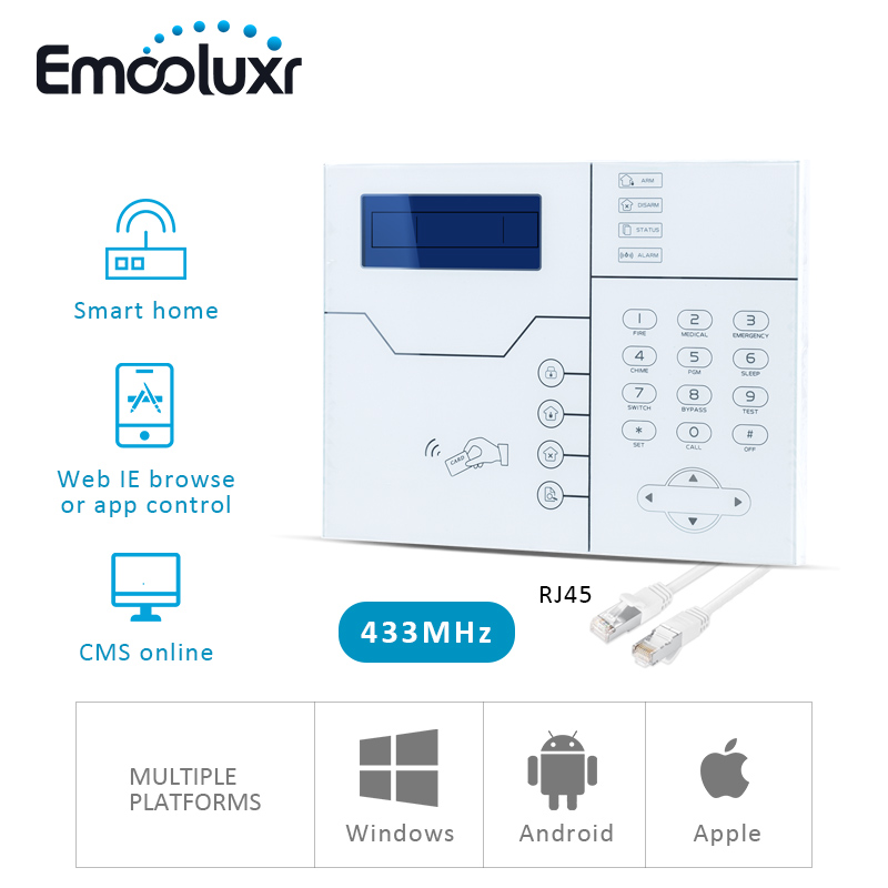 Image 2 - 433/868MHz Network Alarma Systems Wireless TCP/IP GSM Burglar Alarme Home System, Web IE and Android/IOS APP Control-in Alarm System Kits from Security & Protection
