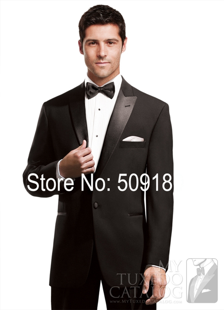 6XL Customized Made Mans Tuexdos Black Wedding Suits Slim Fit Bespoke Formal Suits TZ72710 Wool Blend Terno Noivo