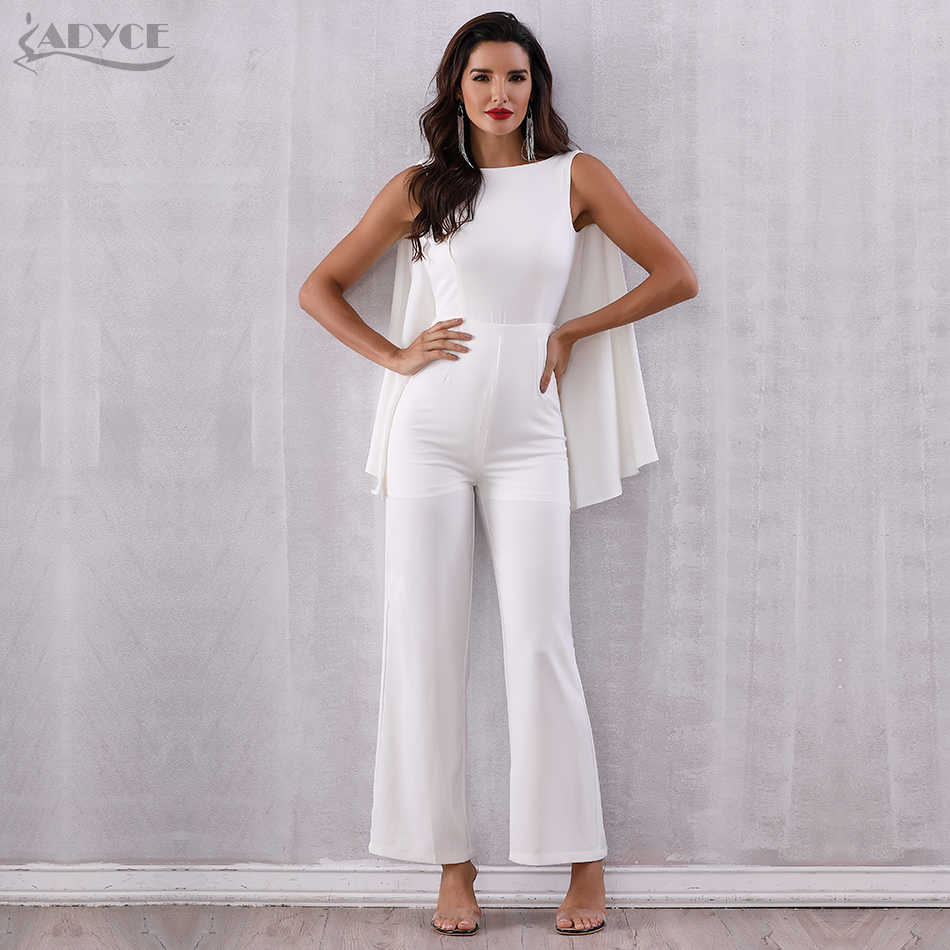 9bf989164 ... ADYCE 2019 Women Celebrity Runway Jumpsuits White Halter Batwing Sleeve  Backless Rompers Women Jumpsuit Sexy Bodycon ...