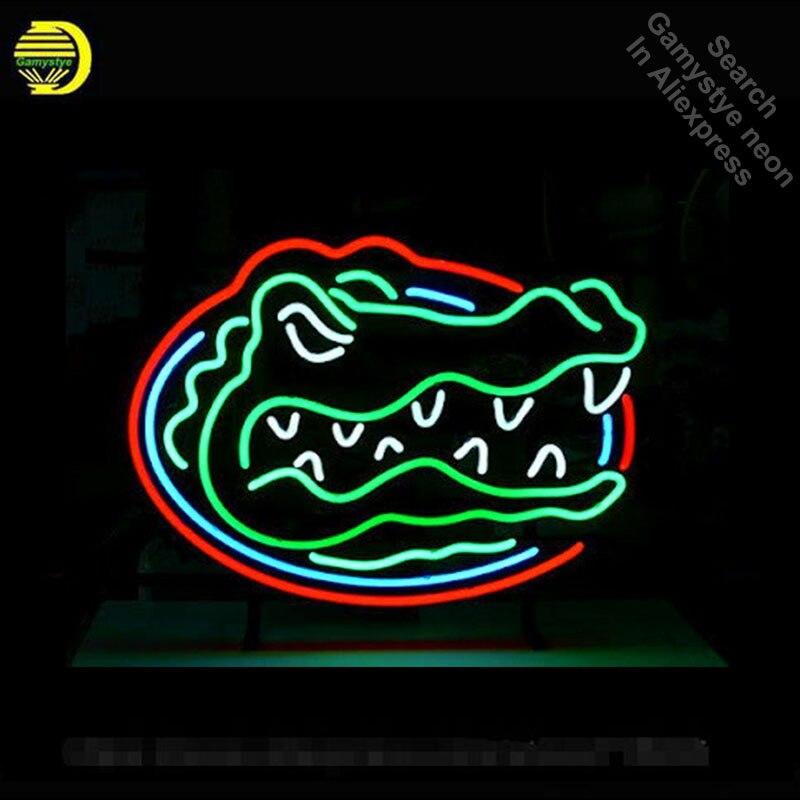 Néon signe pour Gators néon ampoules signe bière Bar Pub décoration néon Tube signe artisanat Publicidad signe magasin affiche vrai verre