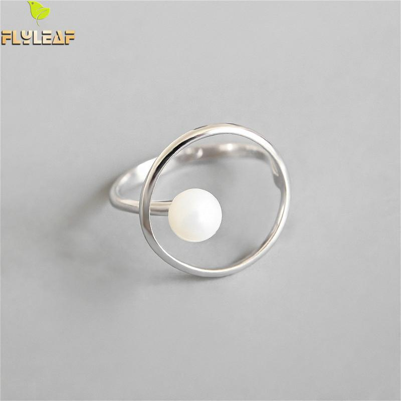 Flyleaf 925 Sterling Silver Rings For Women Ring Natural Pearl Femme Fashion Fine Jewelry Simple Open Ring Temperament OL Style
