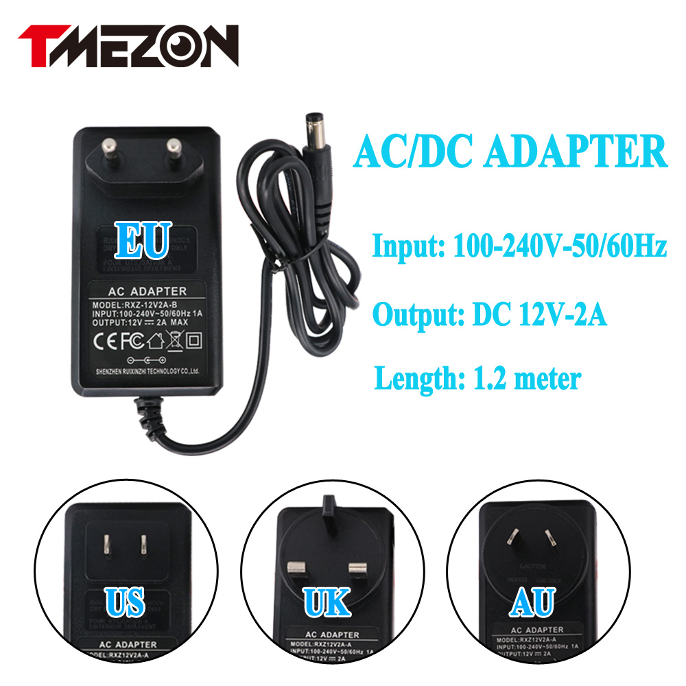Tmezon EU US AU UK AC Powr Apater Input 100-240V DC 12V 2A Work For CCTV Camera Video Recorder DVR NVR Universal Power Supply