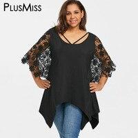 PlusMiss Plus Size 5XL Sexy Crochet Lace Sleeve Asymmetrical Top Women Clothing Large Size Batwing Sleeve