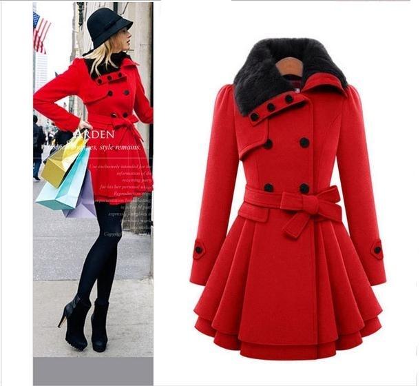 Slim S Rouge red 671876 Épais xxl Longues Américain Femmes De Boutonnage En Mode Manteau Double Laine À Khaki Sections Et Mince Européen waqxTH1Ya