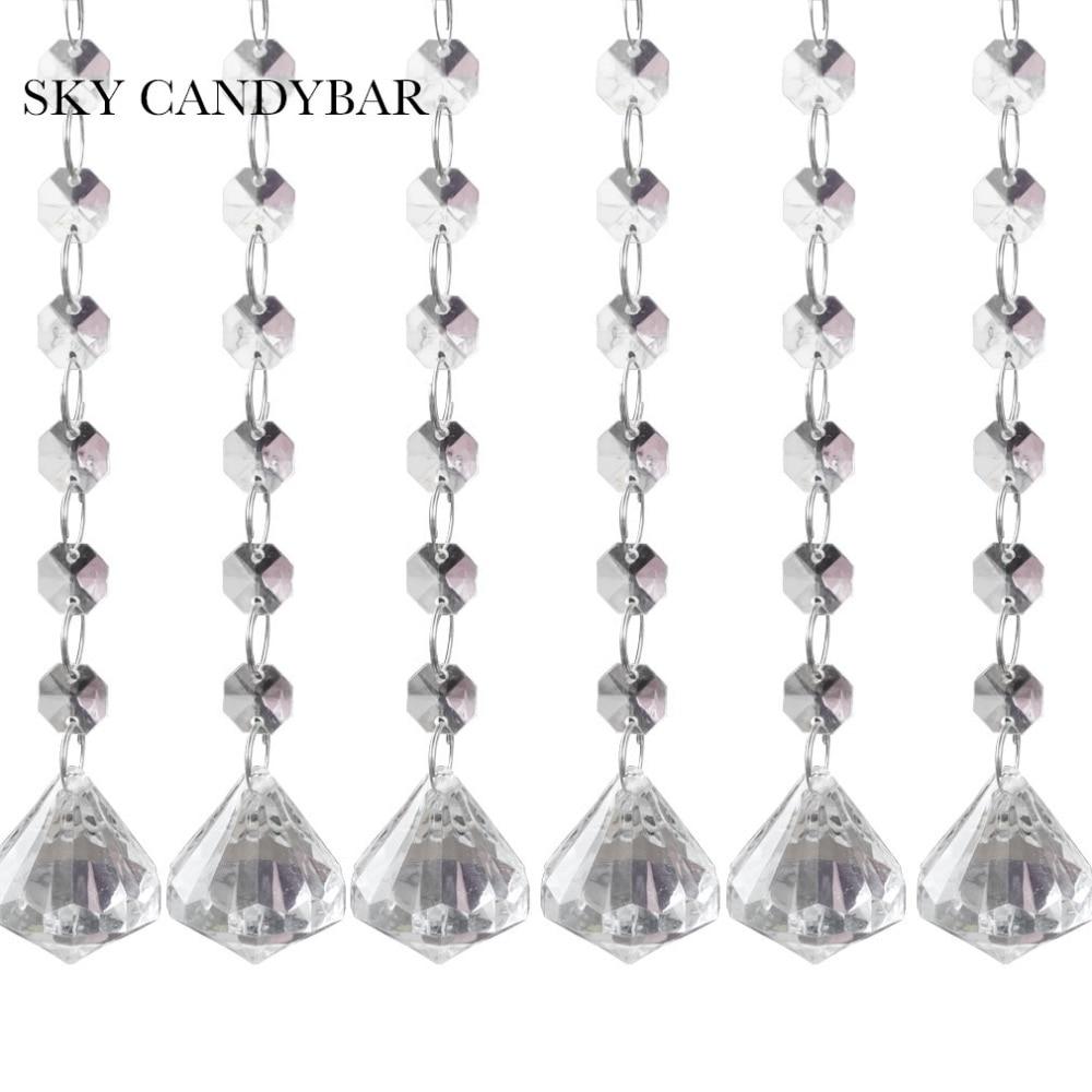 SKY CANDYBAR 6 strands Acrylic Crystal Clear Acrylic Crystal Garland ...