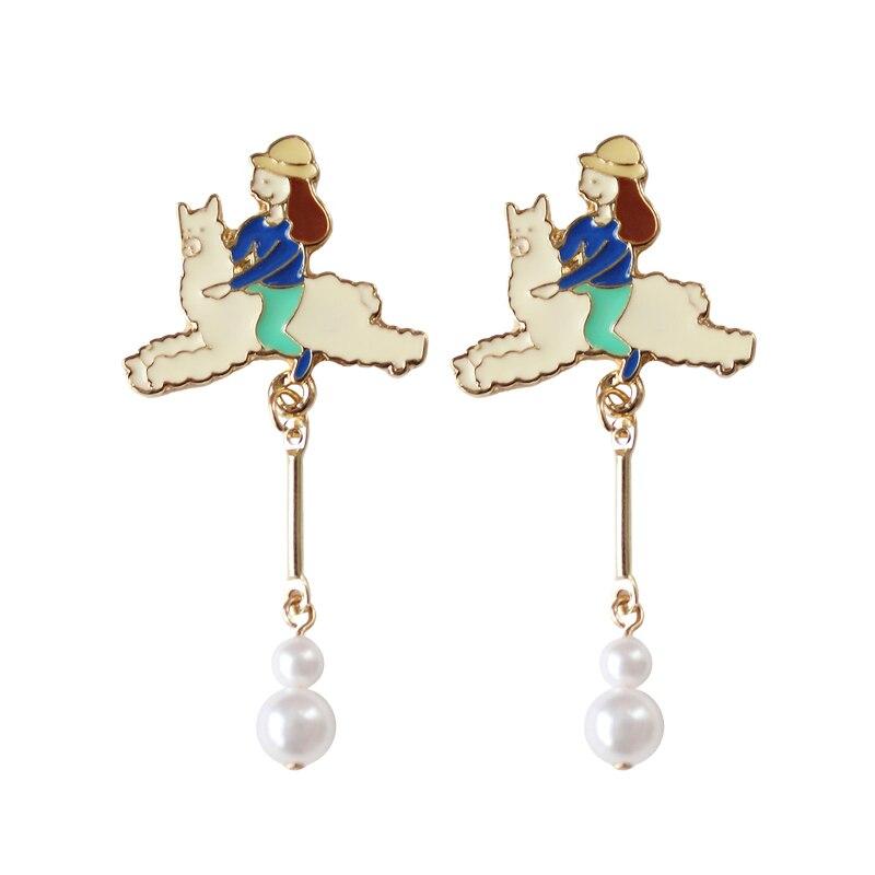 The new 2018 cartoon cute girl riding alpaca personality fashion long pearl earrings
