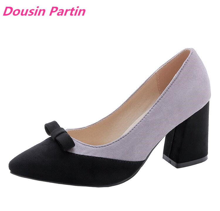 Dousin Partin Women Pumps All Match Pointed Toe Women Shoes Platform Pointed Toe Casual Square High